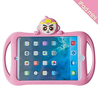 Bole Cat iPad Mini 2/3/4 Case with Handle Silicone Cute Cartoon Cat Design Shockproof Slim Waterproof with Holder for Children Pink