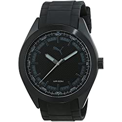 Puma Pace Men's Quartz Watch with Black Dial Analogue Display and Black PU Strap