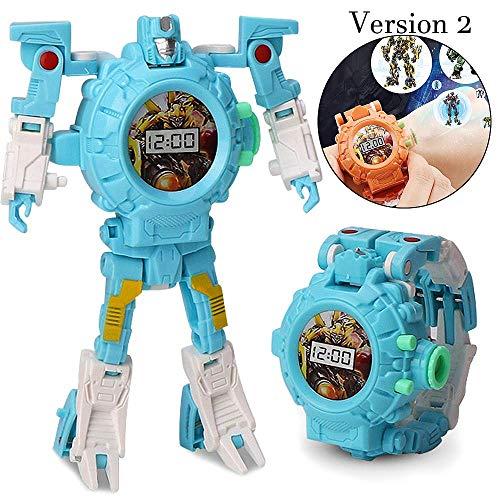 Mmhdz Toy Watch Transformers Spielzeug, 3-in-1 Projektion Armbanduhr Transformation Spielzeug Figuren für Kinder, Digitaluhr Elektronische Roboter Spielzeug(blau)