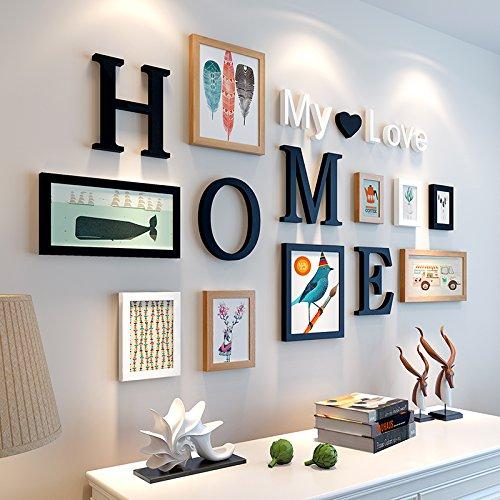 Bilderrahmen von Hjky, Massivholz-Set, kreative Zusammenfassung, rund 10moderne Bilder für das Wohnzimmer, Schlafzimmer , Wandkasten. schwarz und weißes Holz