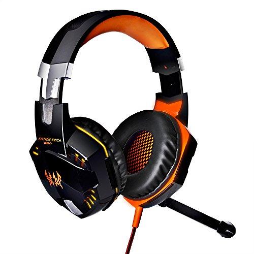 Y Stil G2000USB Gaming Headset mit Mikrofon, Lautstärkeregler/LED-Licht/Bass Surround Stereo, Rauschunterdrückung für PS4PC Xbox One Laptop (Blau/Orange/Rot) Orange -