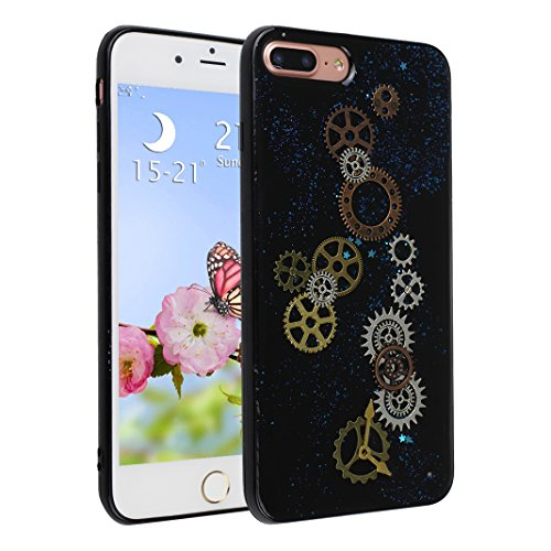 Strane Custodia Per iPhone 7 Plus, Asnlove Bling Soft Silicone Ingranaggio Goffratura Cover Glitter Nero TPU Luccichio Caso Embossed Modello Gear Cassa Antiurto Case Bumper Per iPhone 7 Plus - Stile 1 Stile 1