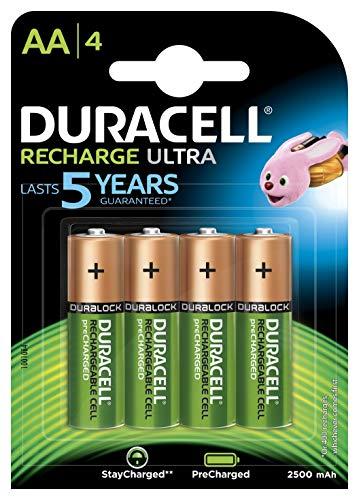 Duracell Recharge Ultra AA Mignon Akku Batterien LR6 2500 mAh, Packung mit 4 Stück