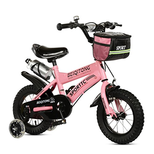 Kinderfahrräder Kinder Fahrrad 12|14|16|18|20 Zoll Outdoor Kind Baby Kind Mountainbike Jungen Mädchen Geschenk für 2-11 Jahre alt mit Flash-Trainingsrad | Stoffkorb | Wasserflasche Safe Damping ( Farbe : Pink , größe : 16 inches ) (Jahre Altes Fahrrad 9)