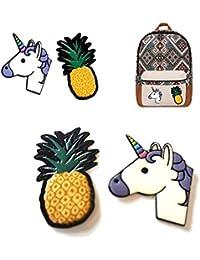 2Stk. Textilsticker PU Ledersticker Einhorn Ananas Patches für Handtasche, Rucksack, Jacke, Smartphone uvm. DIY by Primaneo