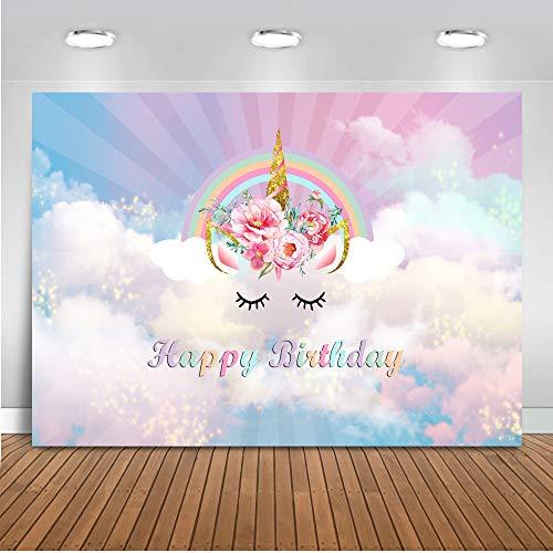 Mehofoto Geburtstag Einhorn Blume Hintergrund 7x5ft Vinyl Regenbogen Einhorn Kinder Party Dekoration Foto Kulissen Nahtlose Banner Fotografie Hintergrund