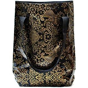 wasserabweisender Shopper - Beutel - Einkaufsbeutel - Badetasche - Tote bag aus Wachstuch Eden gold