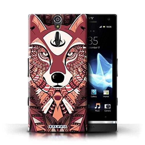 KOBALT® Hülle Case für Sony Xperia S/LT26i | Wolf-Sepia Entwurf | Aztec Tier Muster Kollektion Wolf-Rot