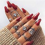 NYAOLE 12 Pcs Vintage Hohlen Geschnitzte Blume Geometrische Ring Sets Einfache Klassiker Böhmen Wassertropfen Ring Set für Frauen Mädchen, alte Silberne Farbe
