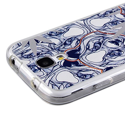 CrispyWallet Apple iPhone 6 6S Silikon Case Hülle Houndstooth Navy Silver Panda