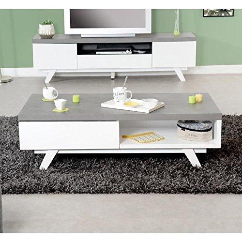 Générique Storm Table Basse Style Contemporain laquée Blanc + Plateau mélaminé Imitation béton - l 120 cm
