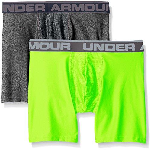Under Armour Herren O Series 6'' BoxerJock 2er Pack,Mehrfarbig (Carbon Heather/Hyper Green), MD - Gear Boxer Shorts