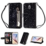 YKTO Samsung Galaxy J7 2017 / J7 Pro (J730) Glitter Shiny Multifunction Zipper Case PU Leather Money Pocket Magnetic Closure Stand Shell Shockproof Protective Cover with Wrist Strap Black