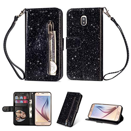 Coupon Matrix - YKTO Samsung Galaxy J7 2017 / J7 Pro (J730) Glitter Shiny Multifunction Zipper Case PU Leather Money Pocket Magnetic Closure Stand Shell Shockproof Protective Cover with Wrist Strap Black