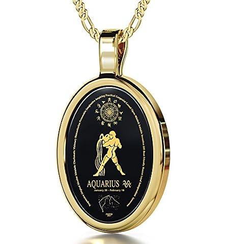 14ct Yellow Gold Zodiac Pendant Aquarius Necklace Inscribed in 24ct