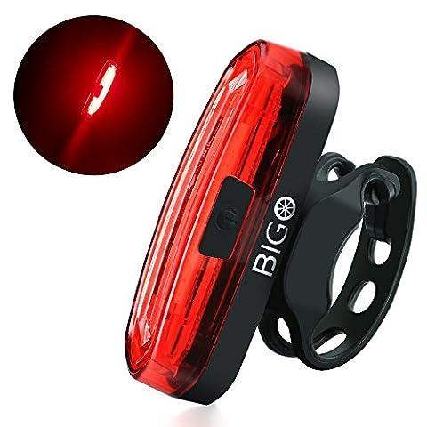 Eclairage Arrière Vélo, BIGO Feu Arrière Vélo USB Rechargeable COB