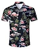AIDEAONE Herren Hawaiihemd Kurzarm Hemden Flamingo Hemd Schwarz
