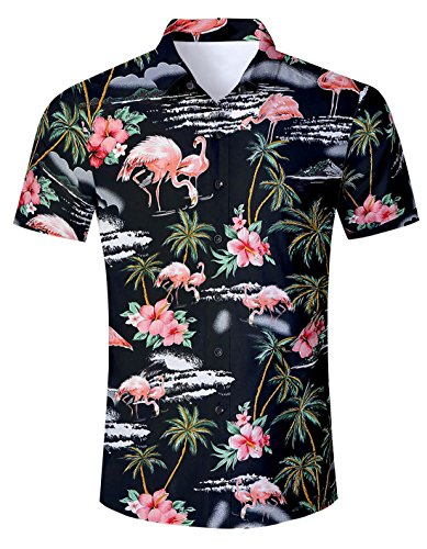 AIDEAONE Herren Flamingo Urlaub Hemd Strandkleidung Kurzarm Regular Fit Hemden Schwarz