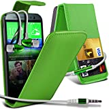 ( Green ) HTC One M8 Protective Faux Kredit / Debit-Karten-Slot Leder Flip Case Hülle & LCD-Display Schutzfolie & Aluminium In-Ear-Ohrhörer Stereo-Ohrhörer mit Hands Free Mic & On-Off-Taste Einbau by ONX3