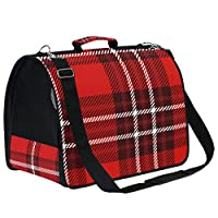 LKZNT Pet Carrier Dog Cage Black Blue White Check Portable Travel Cat Puppy Rabbit Bag Net Breathable Handbag with Non-slip Pad