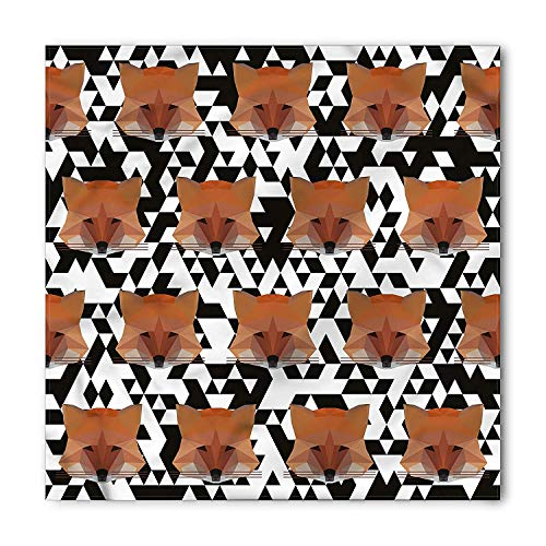 Modern Bandana, Low Poly Style Fox Fractal, Unisex Head and Neck Tie 60x60cm -