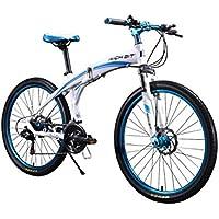 rich bit® nuovo aggiornamento rt-601da mountain bike Hardtail Frame bici pieghevole in alluminio telaio 66cm 66cm 27velocità ruota freno a disco anteriore, raggi/magnesio integrata Blu, Red/White, SPOKES - Doppio Spoke