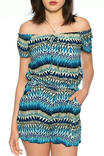 Dress Sheek Damen Jumpsuit Playsuit Sommer Luftig Gemustert Overall Kurz Schulterfrei Ärmel R266 - Blau