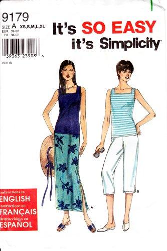Simplicity Muster 9179~ damenröcke, Capri Hosen und Knit Tank Top ~ Größen XS-XL -