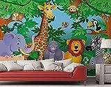 Fototapete Dschungel Comic Giraffe Löwe Elefant Tiere Zebra Nashorn - Größe 366 x 254 cm, 8-teilig