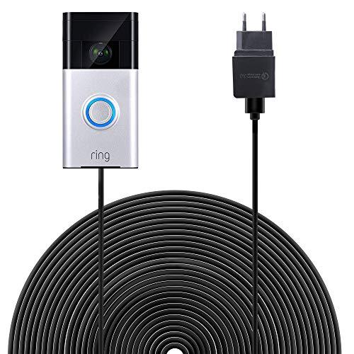 HOLACA Netzteiladapter Ladekabel mit 6 m Anschluss mit Gleichstromadapter kompatibel mit Ring-Video-Türklingel, kontinuierlicher Ladevorgang (Ring Video Doorbell) -