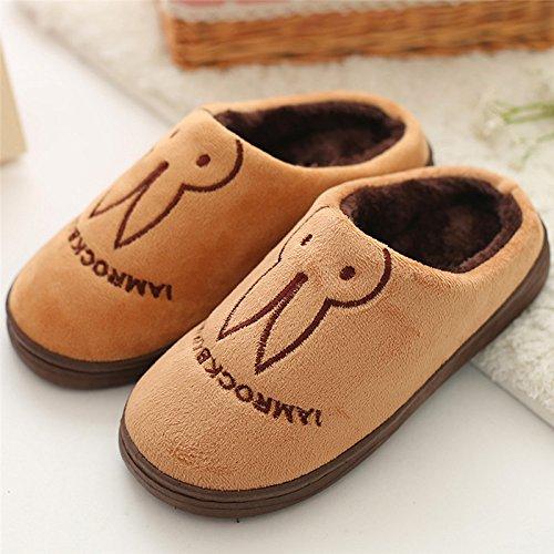 DogHaccd pantofole,Le coppie di pantofole inverno femmina cartoon graziosa piscina anti-slittamento soggiorno pavimenti in caldo spessi di cotone felpato pantofole maschio Il caffè1