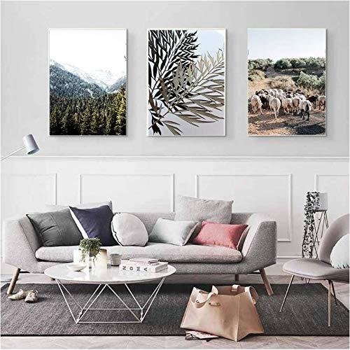 LYFCV Pecore Bianche e Nere Arte murale su Tela Pittura Animali Poster e Stampe Foglie Quadri murali Moderni per Soggiorno 50x70cm Senza Cornice