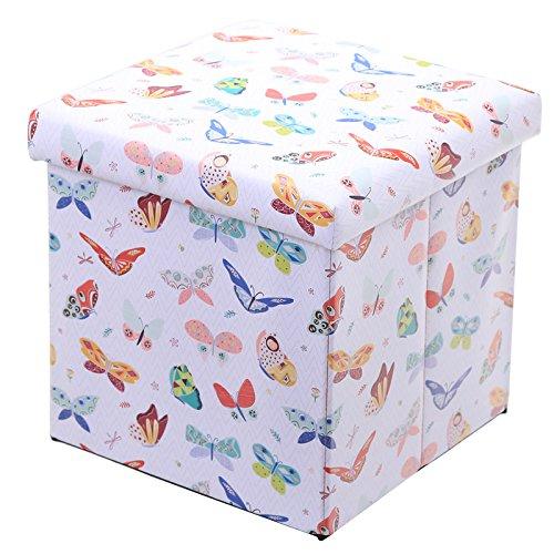 Klappbare Gepolsterte Hocker und Aufbewahrungsbox–Schmetterling Design–Höhe 33cm Breite 33cm Tiefe 33cm (Kinder-gießkanne Krug)