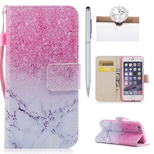 Custodia iPhone 6,iPhone 6S Custodia in pelle,Felfy Belle Colorato Dipinto Elegante Lusso Rigida Fantasia Design Stand Flip PU pelle Portafoglio/Wallet Cuoio/Libro Bookstyle Leather Case per Carte di  Sabbia di Marmo