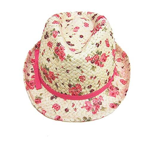 Fischerhut Strohhut Mädchen Baby-Mädchen Baby Hut Blume Bedrucktes Trilbyhut Sonnenhut,M