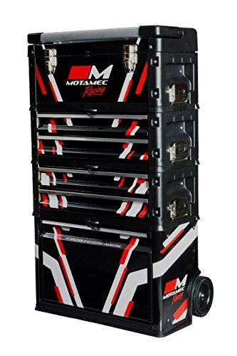 Motamec Racing Black Modular Tool Box Trolley Mobile Cart Cabinet Chest C41H -