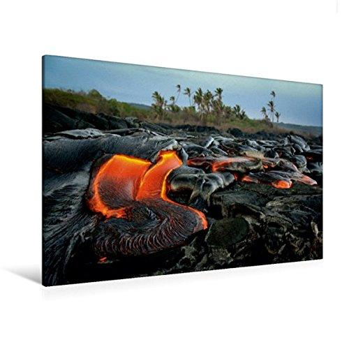 Premium Textil-Leinwand 120 cm x 80 cm quer, Lava und Kokospalmen | Wandbild, Bild auf Keilrahmen, Fertigbild auf echter Leinwand, Leinwanddruck (CALVENDO Orte)