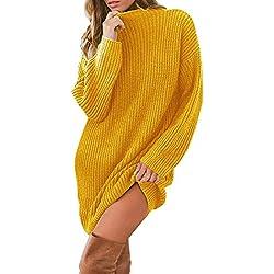 QinMM Mini Vestido de Jersey Suéter Suelto de Manga Larga con Cuello Redondo de Punto para Mujer Invierno Fiesta