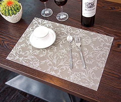 Butterme Tisch Set Platzdeckchen Abendessen waschbare Kunststoff Vinyl platzsets / PVC Tischsets Wärmedämmung Tabelle Pads Set von 4,45 * 30cm, Grau