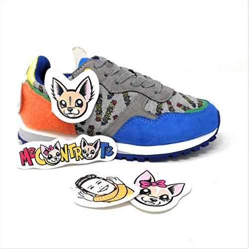 Liu-Jo Me Contro Te Sneakers Lacci Bimbo/Ragazzo in Tessuto e Velcro + Adesivi 4XX803TX08200009 (34 EU)