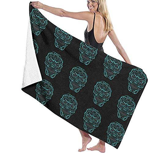 Mikrofaser Badetuch Schädelform Türkis Badetuch Schnelltrocknend Handtuch Für die Reise Schwimmbecken Yoga Camping Gym Sport 160 X 80 cm