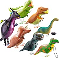 7 Pieces Walking Dinosaur Balloon Walking Animal Balloon Helium Foil Balloons Large Dinosaur Balloon for Animal Dinosaur Theme Birthday Party Kids Party Favors and Shop Decoration