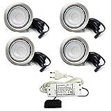 4er Set LED Einbaustrahler Möbelleuchte Möbeleinbaustrahler flach 2,7W LED 12V/DC warmweiß 3000K/200Lm Farbe Edelstahlgebürstet + 15Watt LED Trafo 230V