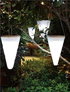Solalux Set of 3 Solar Outdoor Garden Hanging Tree Cornet Cone LED Lights