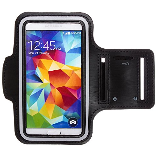 CellularOutfitter Samsung Galaxy S4 Fitness Armband - Neoprene Material, w/ Special Pocket for Keys - Black (Wallet Flip Front Pocket)