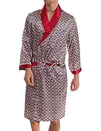 Bata De Hombre Ligero De Los Hombres del Verano Elegantes Moda del Pijama De Los Hombres De Los Hombres Bata De Seda De La Rodilla del…
