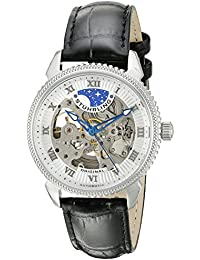 Stuhrling Original Special Reserve Men's Automatic Watch with Silver Dial Analogue Display and Black Leather Strap 835.01