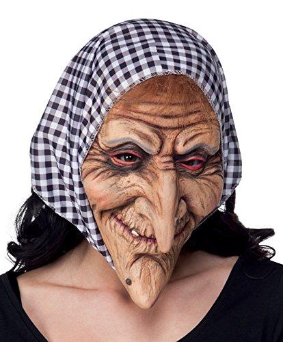 Boland 97508 Maske Hexe mit Kopftuch Latex Vollmaske Hexenmaske