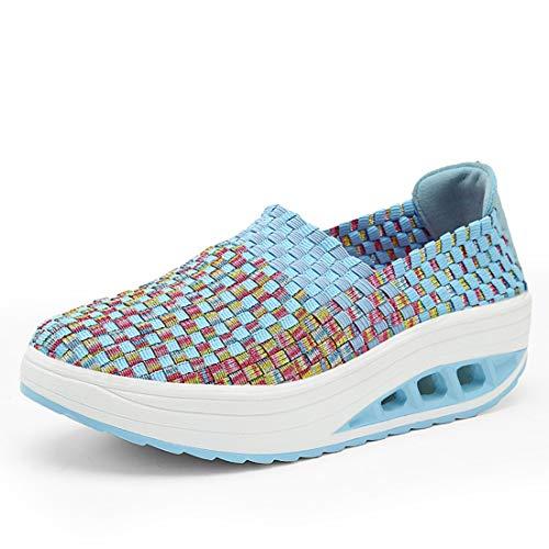 SEVENWELL Damen Air Max Laufschuhe Dämpfung Sneakers Atmungsaktiv Cozy Woven Aktiv Fitness Workout Schnürschuhe Im Freien Turnschuhe Hellblau 230mm:36 EU
