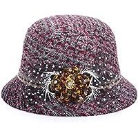 LKKLILY-Retro-Dye Color en otoño y Invierno Plaid Lana Sombreros Sombrero de Las Mujeres Sombreros de Moda para al Aire Libre Sol/Prom, 57cm, Wine Red